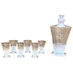 1930 René Lalique Original Bourgueil Liquor Set of 7 Pieces 6 Glasses 1 Decanter
