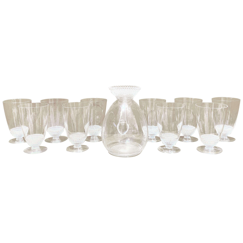 1930 René Lalique Original Nippon Orange Set 13 Pieces, 12 Glasses 1 Pitcher
