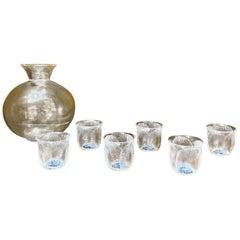 1930 René Lalique Set 7 Pieces Glasses Coquelicots Black Enamel & Decanter