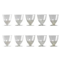1930 René Lalique Set of 10 Nippon Glasses Liquor Sake