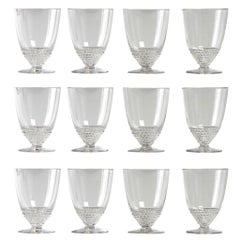 1930 René Lalique Set of 12 Nippon Glasses Wine Madere
