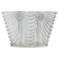 1930 René Lalique Terpsichore Vase in Frosted Glass with Blue Patina