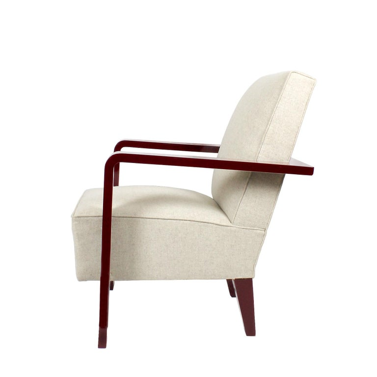 1930s Art Deco Armchair, Lacquered Beech, Off-White Wool, Belgium In Good Condition For Sale In Barcelona, ES