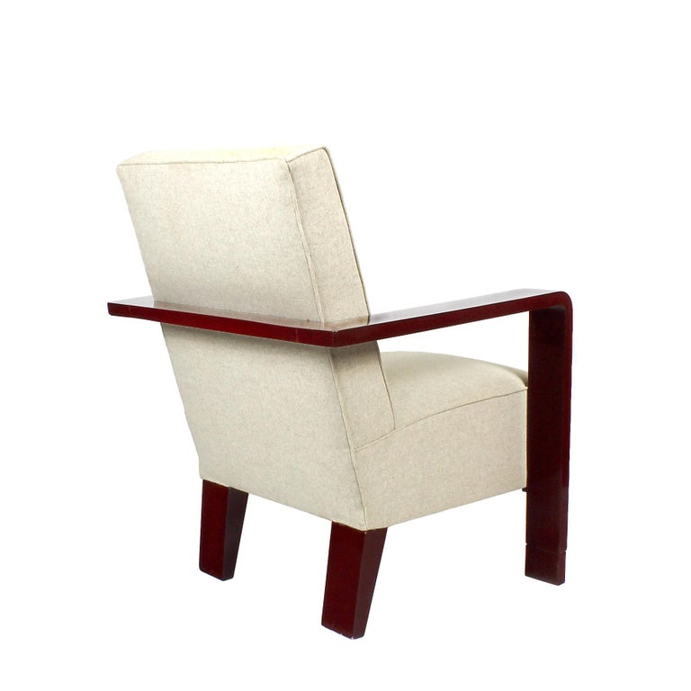 Mid-20th Century 1930s Art Deco Armchair, Lacquered Beech, Off-White Wool, Belgium For Sale