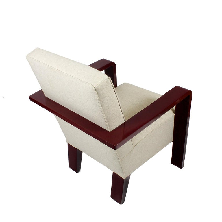 1930s Art Deco Armchair, Lacquered Beech, Off-White Wool, Belgium For Sale 2