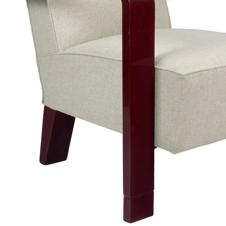 1930s Art Deco Armchair, Lacquered Beech, Off-White Wool, Belgium For Sale 3