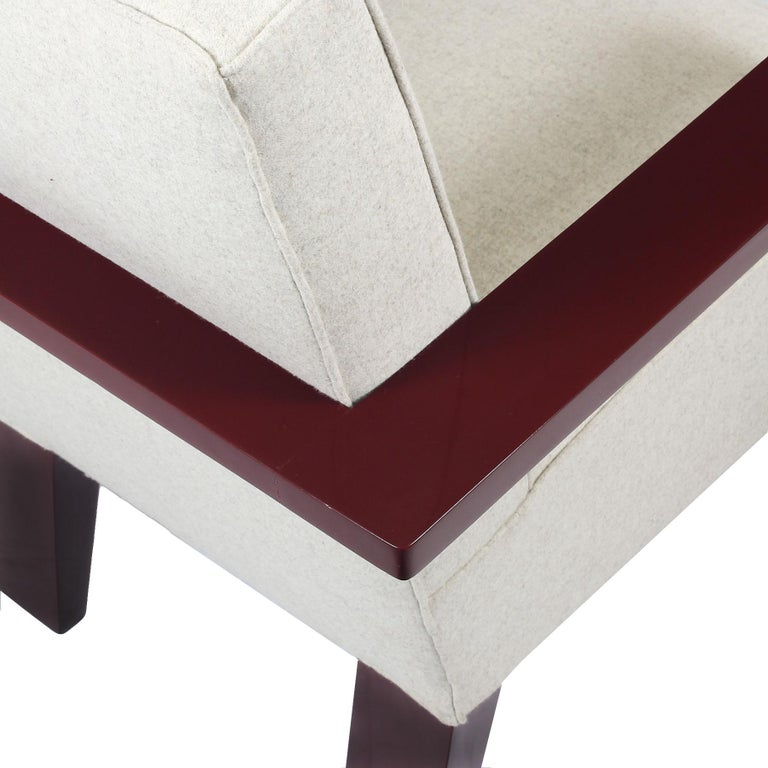 1930s Art Deco Armchair, Lacquered Beech, Off-White Wool, Belgium For Sale 4