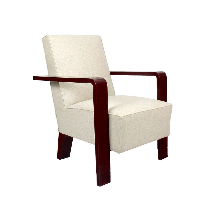 1930s Art Deco Armchair, Lacquered Beech, Off-White Wool, Belgium For Sale