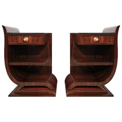 1930s Art Deco Asymmetrical and Rounded Nightstands, Mahogany, Glass, France