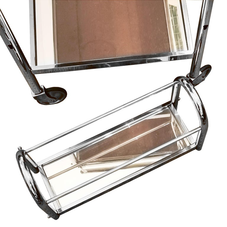 1930s Art Deco Bar Cart by Jacques Adnet, Plated Metal and Mirror, France For Sale 5