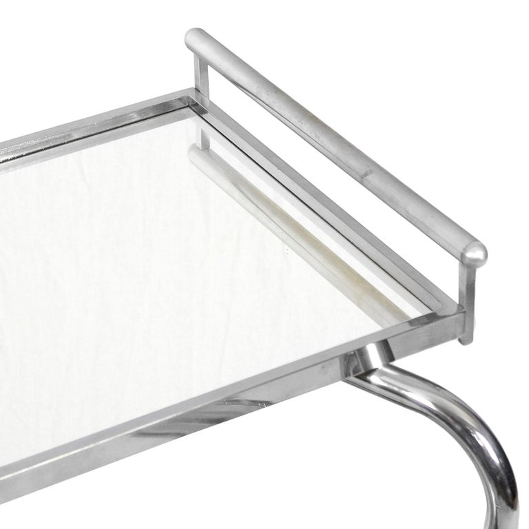 1930s Art Deco Bar Cart by Jacques Adnet, Plated Metal and Mirror, France For Sale 6
