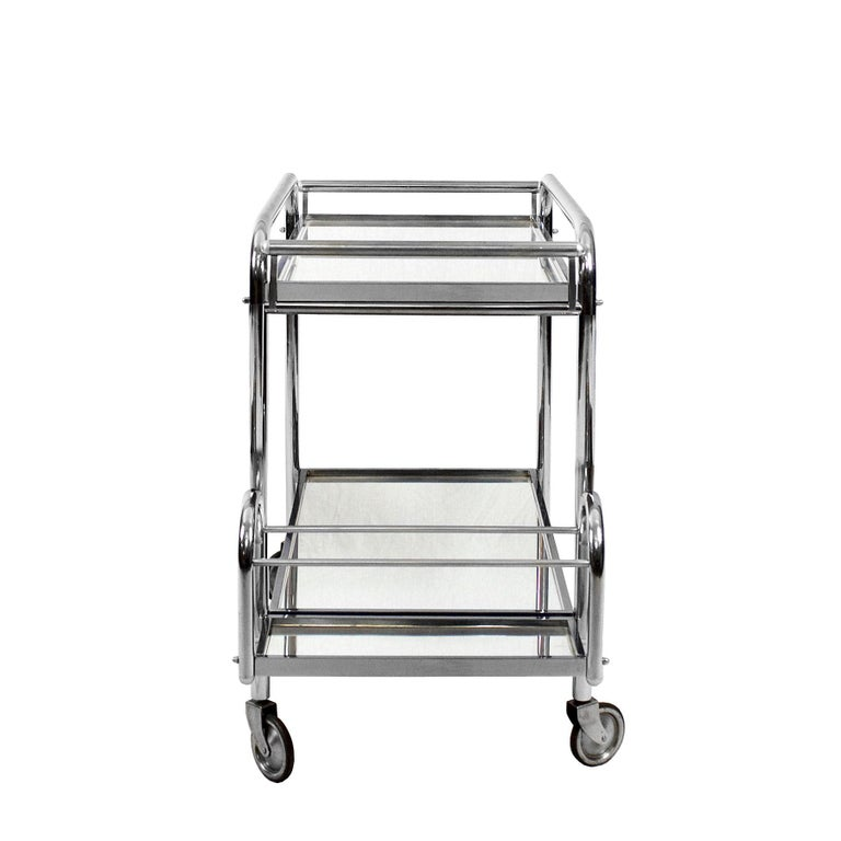 French 1930s Art Deco Bar Cart by Jacques Adnet, Plated Metal and Mirror, France For Sale