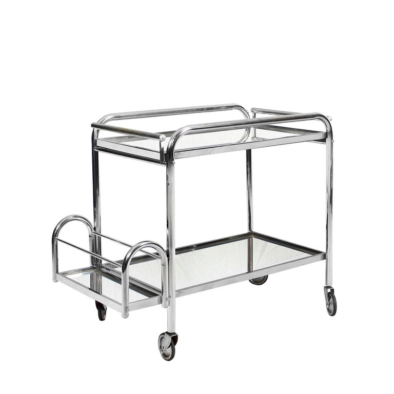 1930s Art Deco Bar Cart by Jacques Adnet, Plated Metal and Mirror, France In Good Condition For Sale In Barcelona, ES