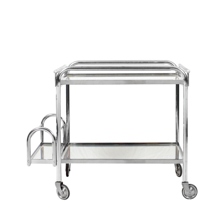 Mid-20th Century 1930s Art Deco Bar Cart by Jacques Adnet, Plated Metal and Mirror, France For Sale