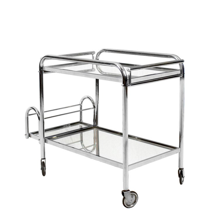 1930s Art Deco Bar Cart by Jacques Adnet, Plated Metal and Mirror, France For Sale 1
