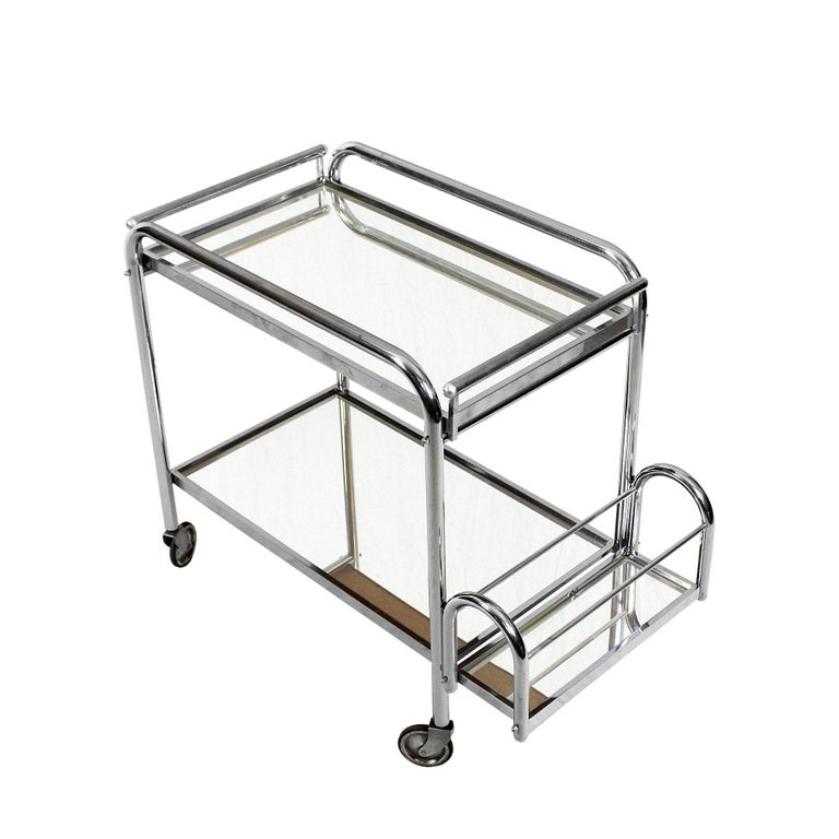 1930s Art Deco Bar Cart by Jacques Adnet, Plated Metal and Mirror, France For Sale 2