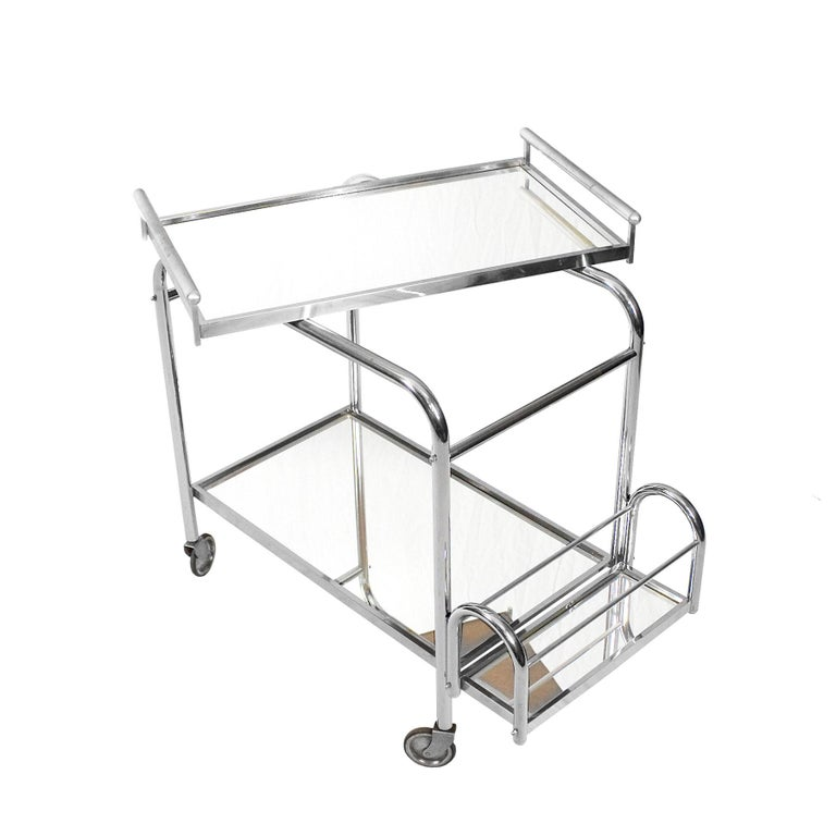 1930s Art Deco Bar Cart by Jacques Adnet, Plated Metal and Mirror, France For Sale 3