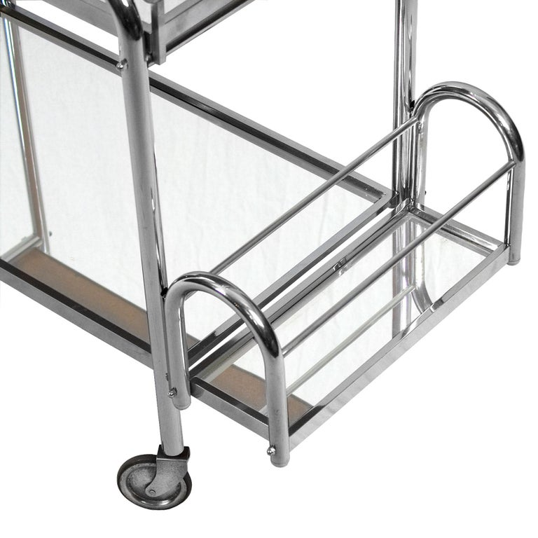 1930s Art Deco Bar Cart by Jacques Adnet, Plated Metal and Mirror, France For Sale 4