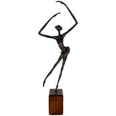 1930s Art Deco Dancer in Bronze, Mahogany Base, Spain