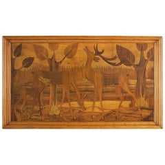 1930s Art Deco Decorative Panel, Marquetry, Ash Frame, Italy