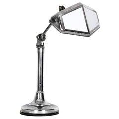 1930s Art Deco Desk Lamp Pirouette Chrome-Plated Metal, White Opaline, France