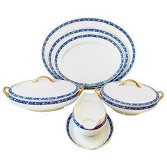1930s Art Deco Japanese Porcelain and 22-Karat Gold Serving Piece, Set of 6