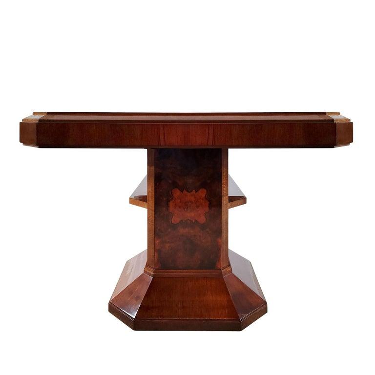 Spanish 1930´s Art Deco Meeting Table, Walnut and Burl Walnut Veneer, Strut, Barcelona For Sale