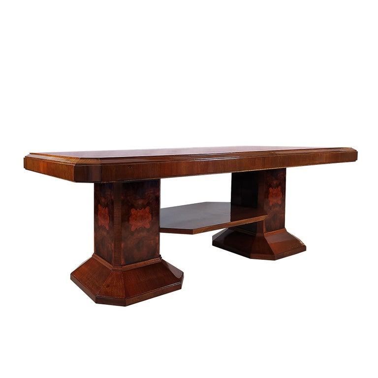 1930´s Art Deco Meeting Table, Walnut and Burl Walnut Veneer, Strut, Barcelona In Good Condition For Sale In Girona, ES