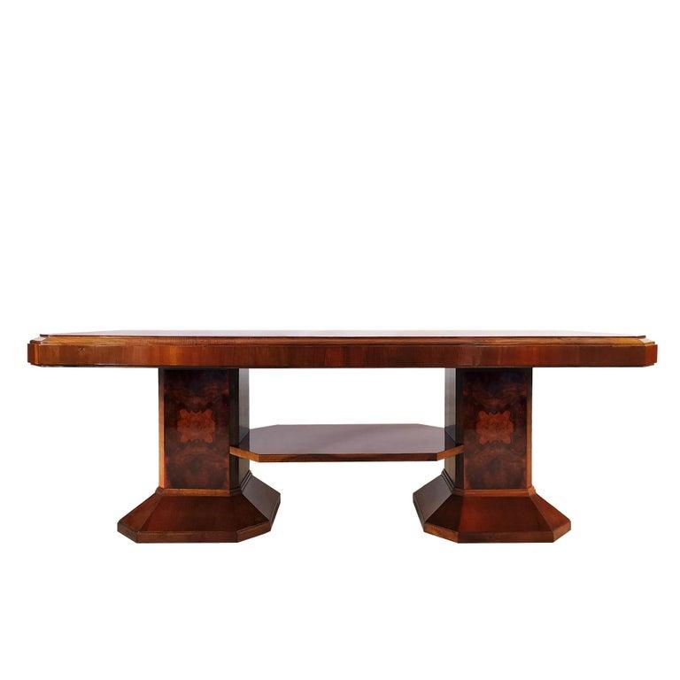 Mid-20th Century 1930´s Art Deco Meeting Table, Walnut and Burl Walnut Veneer, Strut, Barcelona For Sale