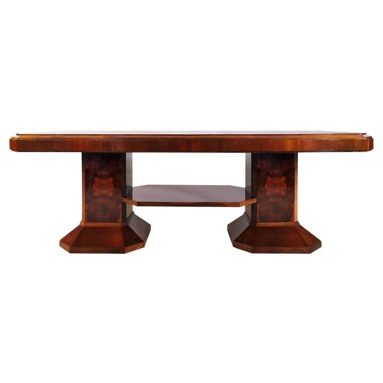 1930´s Art Deco Meeting Table, Walnut and Burl Walnut Veneer, Strut, Barcelona For Sale