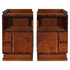 1930s Art Deco Nightstands by G.B. Scorza, Walnut, Macassar, Bakelite, Italy