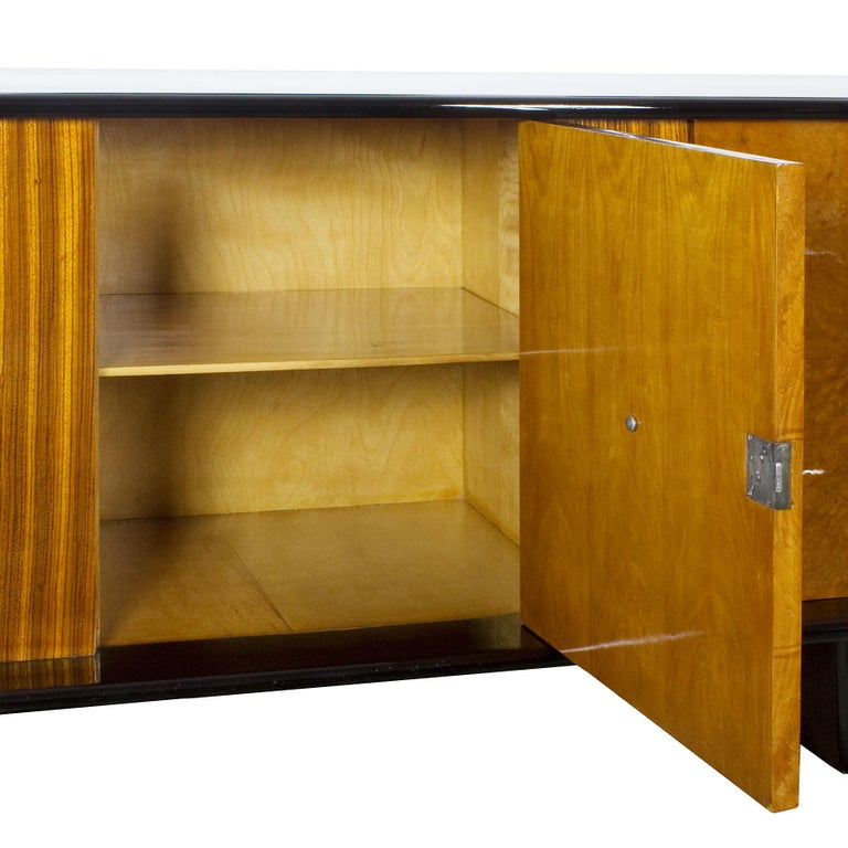 1930s Art Deco Sideboard, Maple, Zebrano, Cherrywood, Black Lacquer, Italy For Sale 4