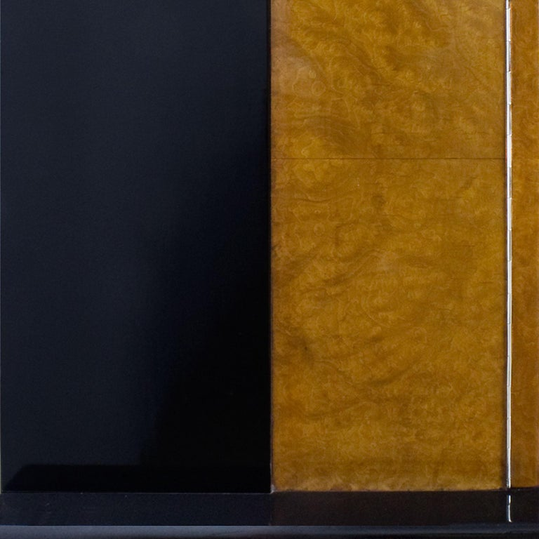 1930s Art Deco Sideboard, Maple, Zebrano, Cherrywood, Black Lacquer, Italy For Sale 5