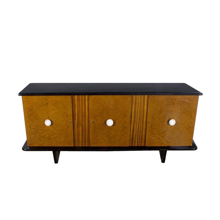 Italian 1930s Art Deco Sideboard, Maple, Zebrano, Cherrywood, Black Lacquer, Italy For Sale