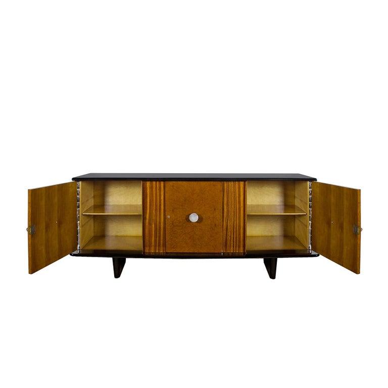 Veneer 1930s Art Deco Sideboard, Maple, Zebrano, Cherrywood, Black Lacquer, Italy For Sale