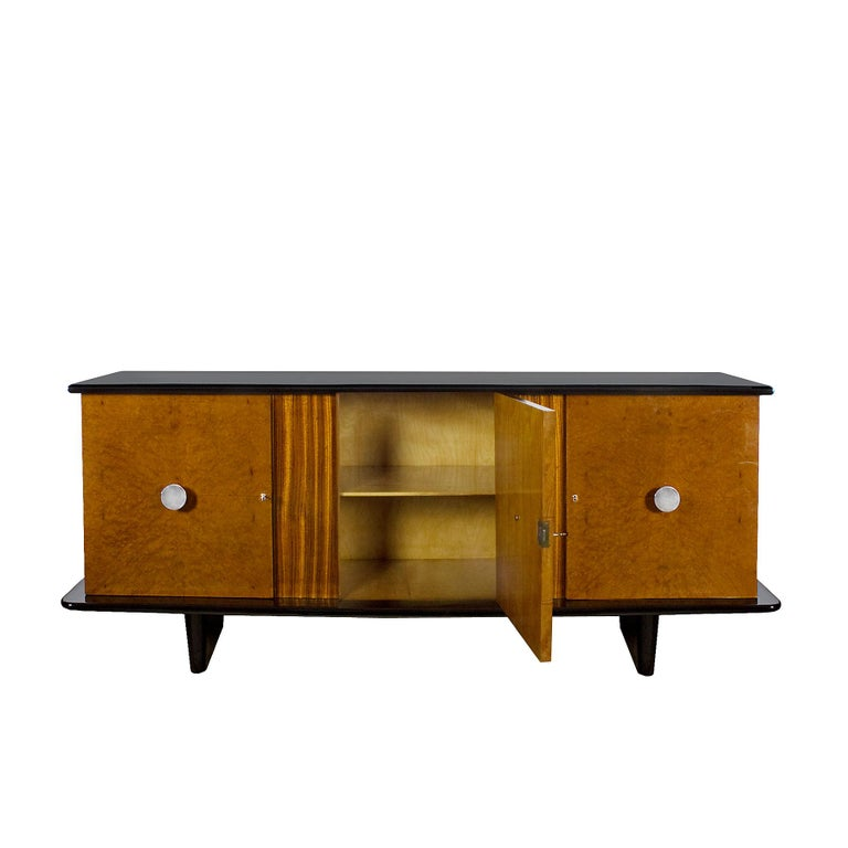 1930s Art Deco Sideboard, Maple, Zebrano, Cherrywood, Black Lacquer, Italy In Good Condition For Sale In Girona, ES