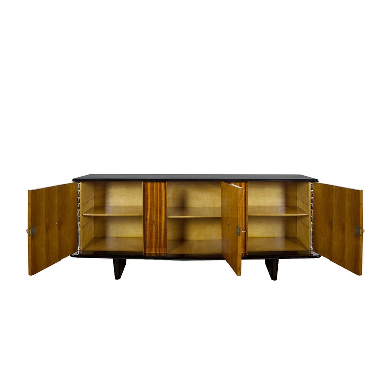 Mid-20th Century 1930s Art Deco Sideboard, Maple, Zebrano, Cherrywood, Black Lacquer, Italy For Sale