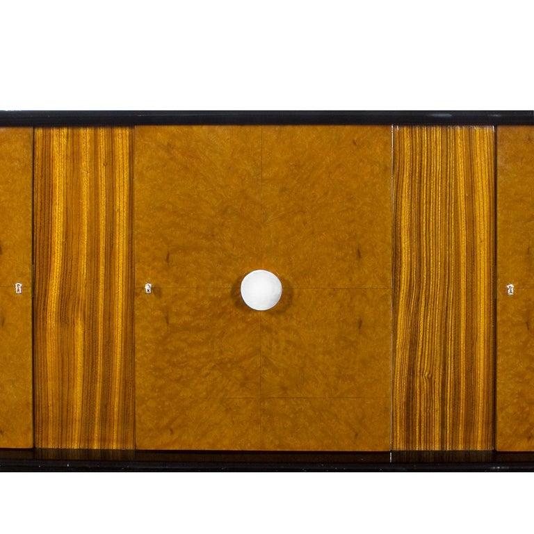 Birdseye Maple 1930s Art Deco Sideboard, Maple, Zebrano, Cherrywood, Black Lacquer, Italy For Sale