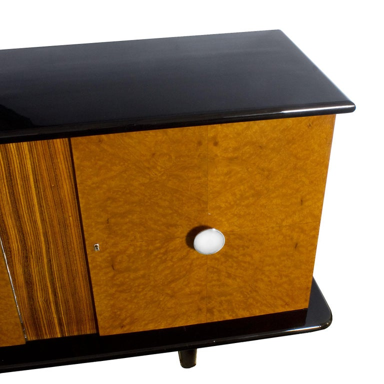 1930s Art Deco Sideboard, Maple, Zebrano, Cherrywood, Black Lacquer, Italy For Sale 1