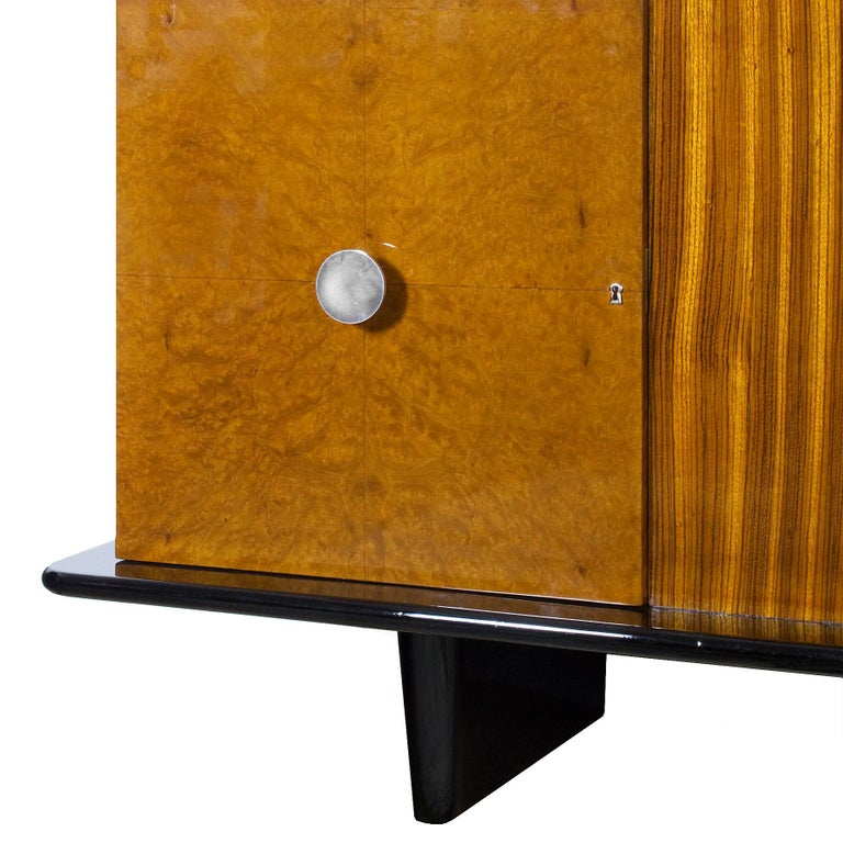 1930s Art Deco Sideboard, Maple, Zebrano, Cherrywood, Black Lacquer, Italy For Sale 2