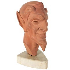 1930s Art Deco Stylized Faun's Head, Terracotta and Marble, France