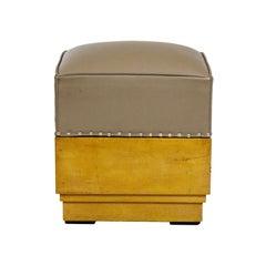 1930s Cubist Art Deco Pouffe, Maple, Leather, Spain, Barcelona