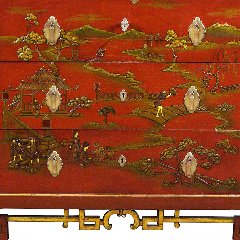 1930s Japanese Inspired Chest of Drawers Secrétaire, Red Lacquered, France For Sale 3