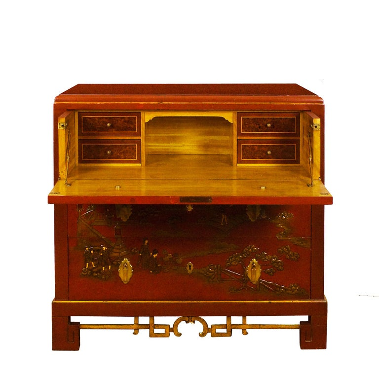 French 1930s Japanese Inspired Chest of Drawers Secrétaire, Red Lacquered, France For Sale