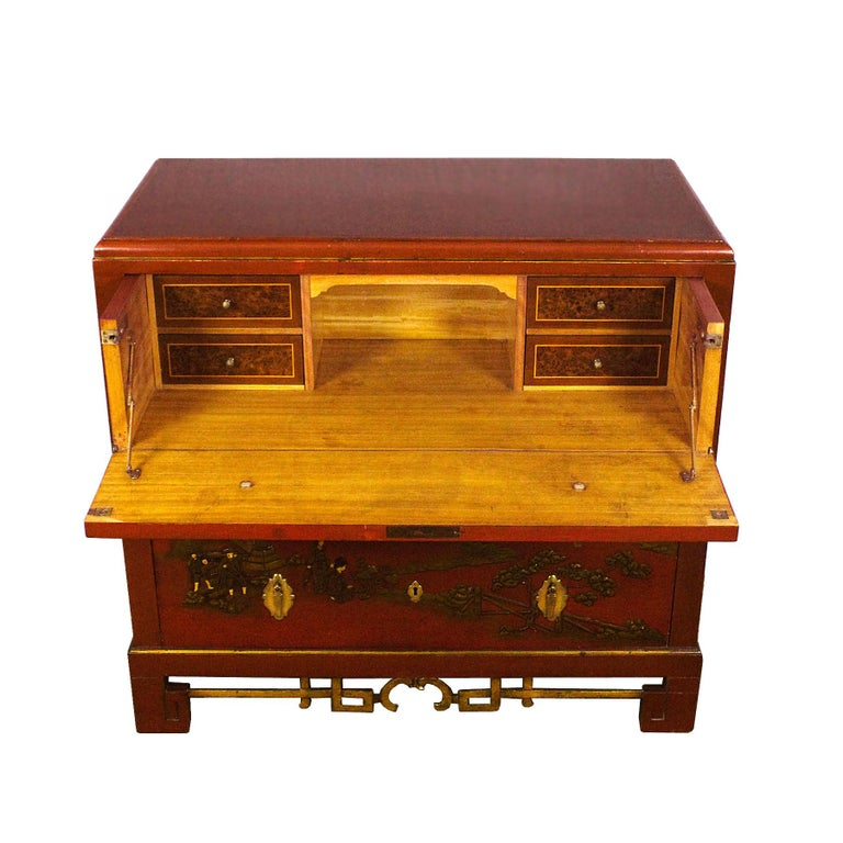 Mid-20th Century 1930s Japanese Inspired Chest of Drawers Secrétaire, Red Lacquered, France For Sale