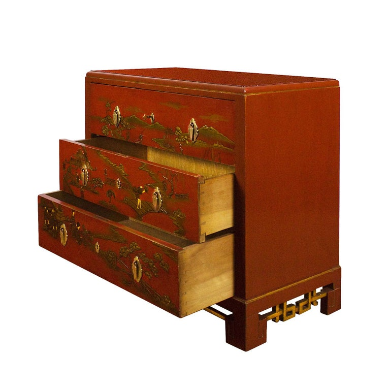 Brass 1930s Japanese Inspired Chest of Drawers Secrétaire, Red Lacquered, France For Sale