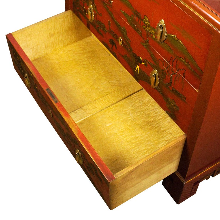 1930s Japanese Inspired Chest of Drawers Secrétaire, Red Lacquered, France For Sale 1