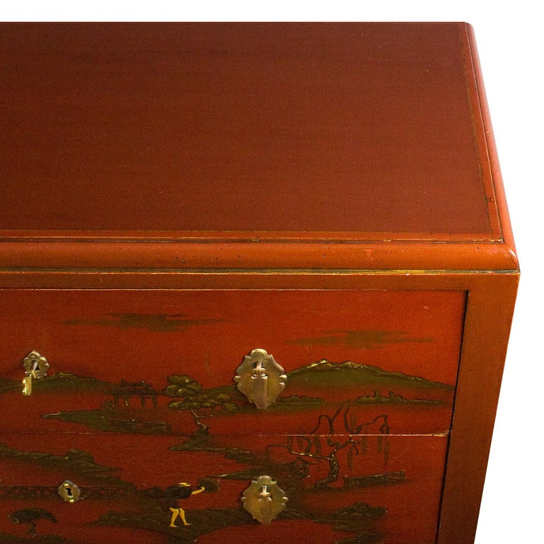 1930s Japanese Inspired Chest of Drawers Secrétaire, Red Lacquered, France For Sale 2