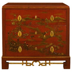 1930s Japanese Inspired Chest of Drawers Secrétaire, Red Lacquered, France
