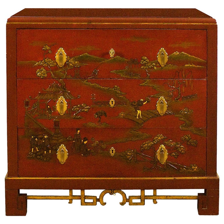 1930s Japanese Inspired Chest of Drawers Secrétaire, Red Lacquered, France For Sale